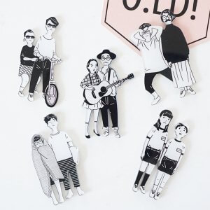 Black and White Cool Pins For Backpacks Image 1