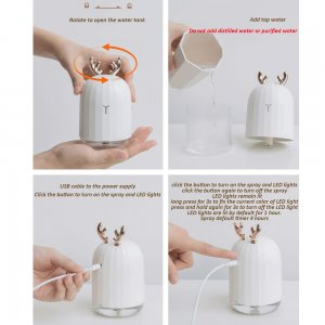 Ultrasonic Mist Humidifier With LED Night Lamp Image 2