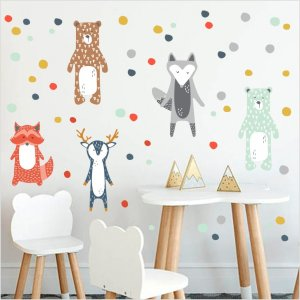 Nordic style Woodland Animal Wall Decals