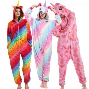 Flannel Adult Rainbow Unicorn Onesie