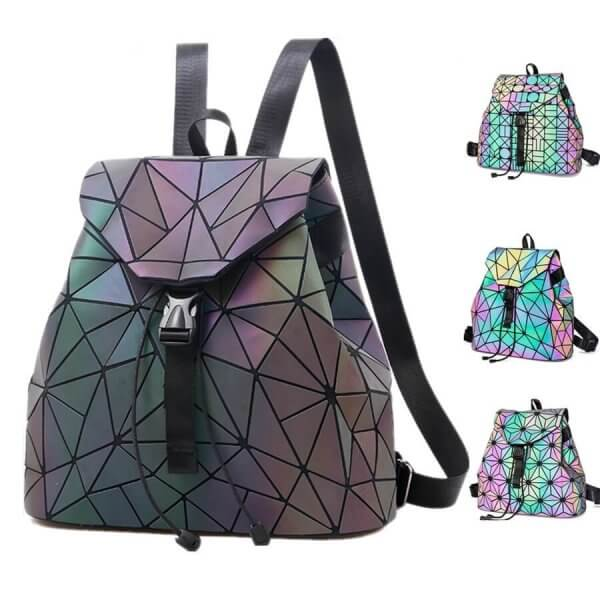 Black Holographic Backpack With Geometric Patterns